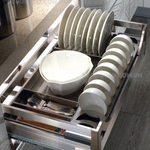 giá bát đĩa hộp âm tủ ray giảm chấn Eurogold