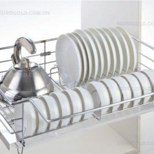 giá bát đĩa inox nan âm tủ gắn cánh ray giảm chấn Eurogold