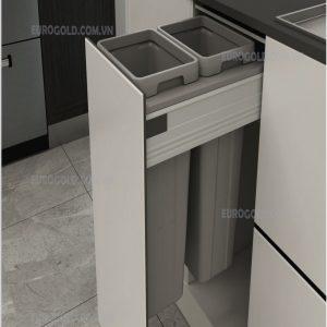 thùng rác âm tủ ray hộp giảm chấn cao cấp eurogold