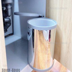 thùng rác tròn âm tủ giảm chấn eurogold